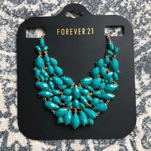Forever 21 Dark Turquoise Gold Statement Necklace
